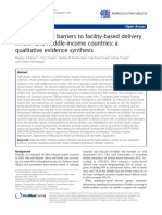 Facilitators and Barriers to Facility Based Delivery