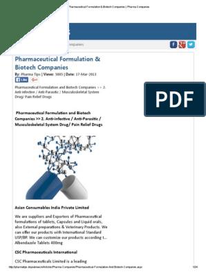 Pharmaceutical Formulation & Biotech Companies _ Pharma