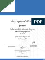 Certificado Introducción a La Programación