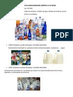 Los Plásticos Potencialmente Dañinos a La Salud