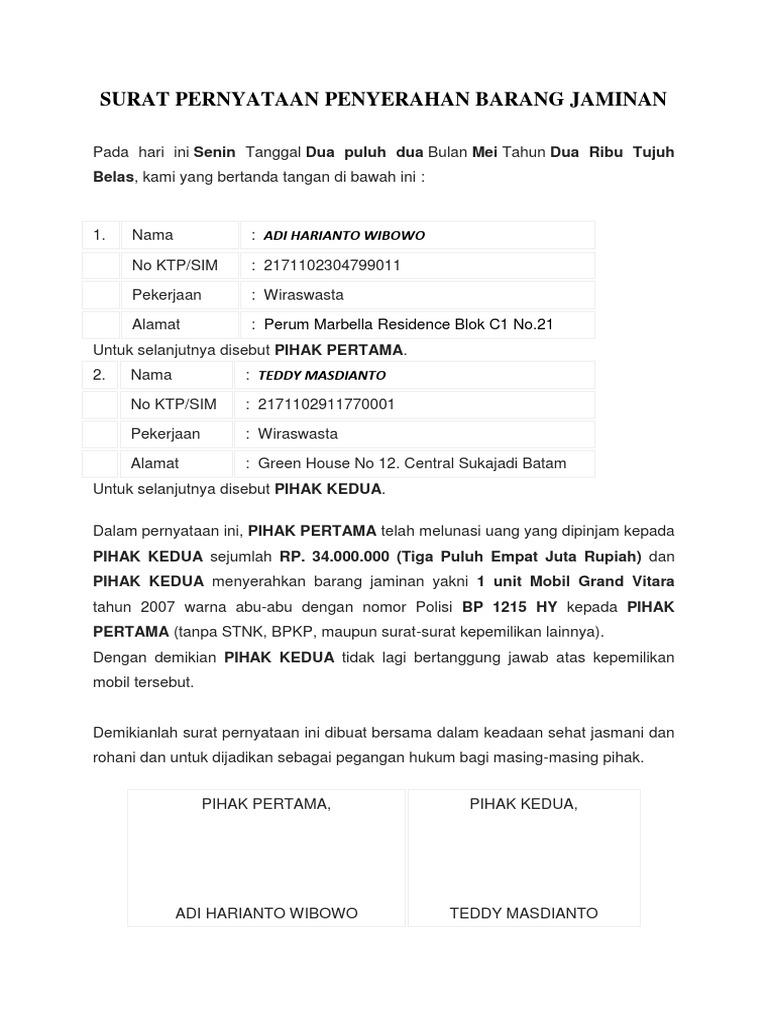 Surat Pernyataan Penyerahan Barang Jaminan