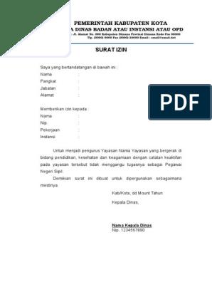 Template Surat Izin Menjadi Pengurus Yayasan