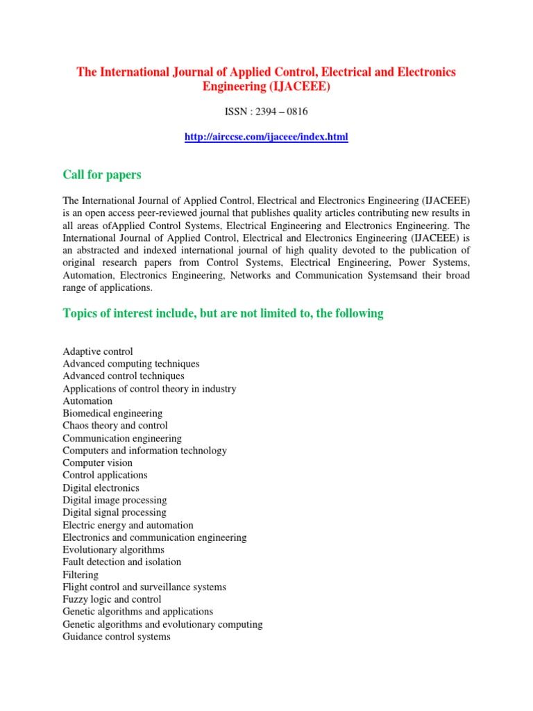 The International Journal of Applied Control, Electrical and