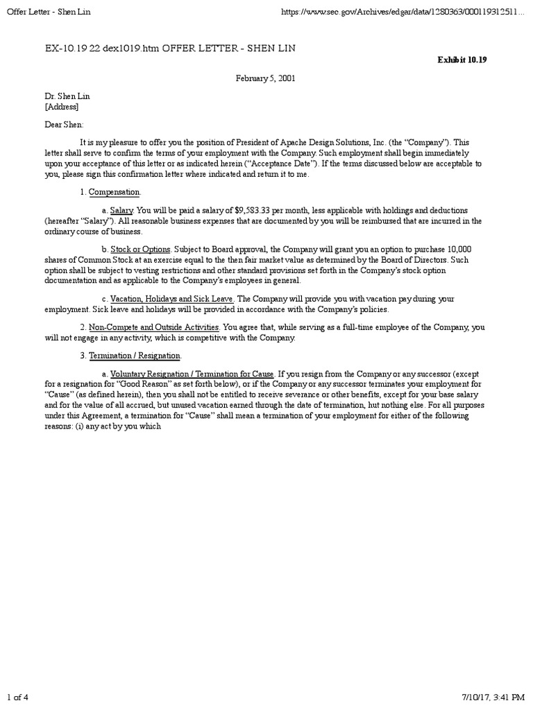 Offer Letter Shen Lin Arbitration Employee Benefits