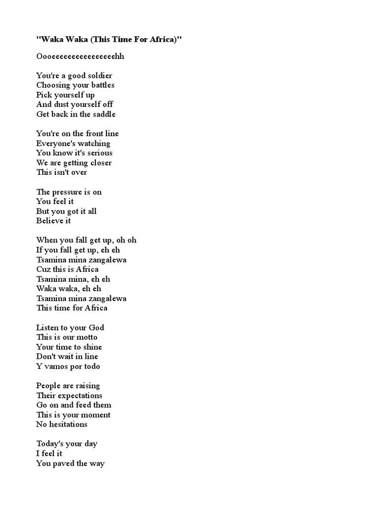 Waka Waka Shakira Championships Songs Written