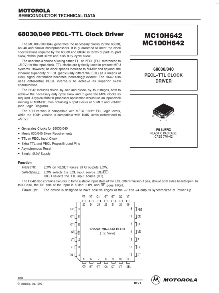 Mc100h642 Clock Driver Ic Electronic Design Computer Hardware Icl7135 Typical Application Schematic Diagram And Datasheet