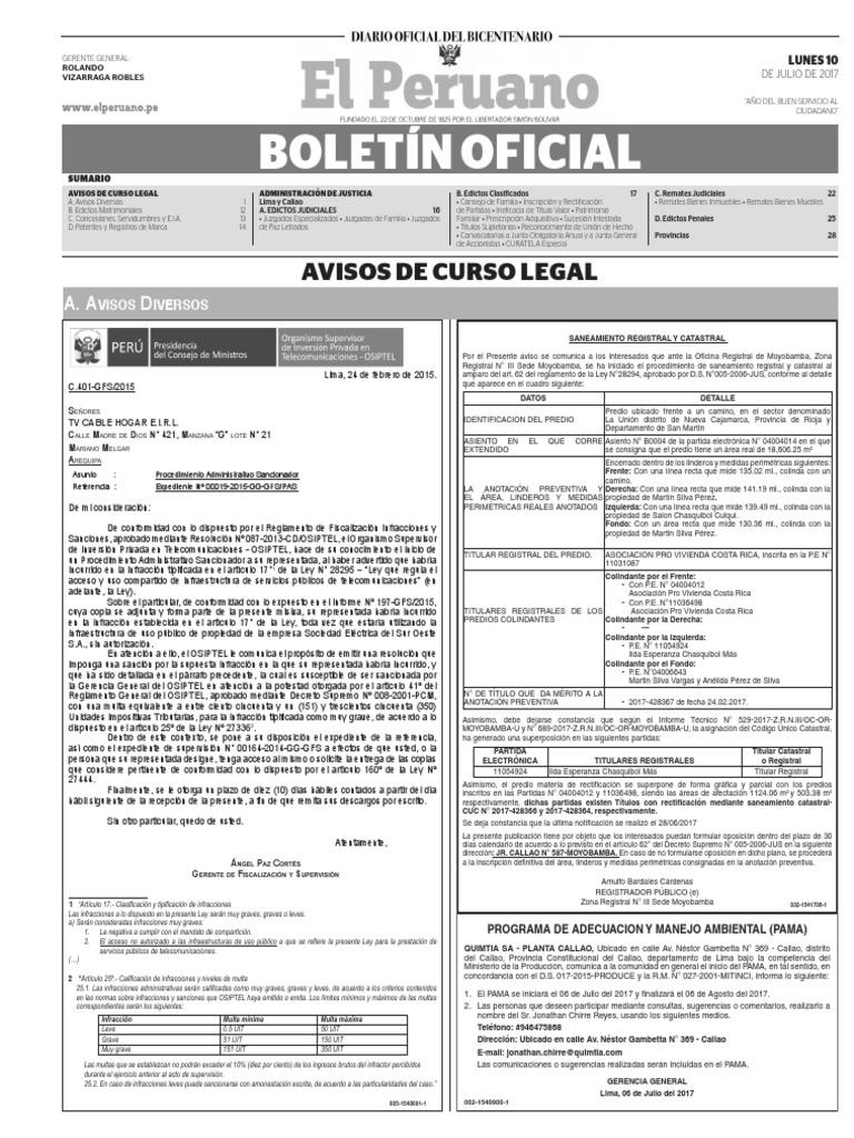 Diario Oficial El Peruano, Edición 9752. 10 de julio de 2017
