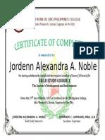 Certificate for FS 1