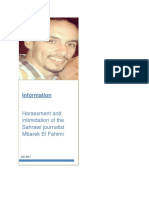 Information Harassment and intimidation of the Sahrawi journalist Mbarek El Fahimi