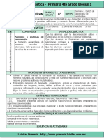 Plan 4to Grado - Bloque 1 Matemáticas (2016-2017)