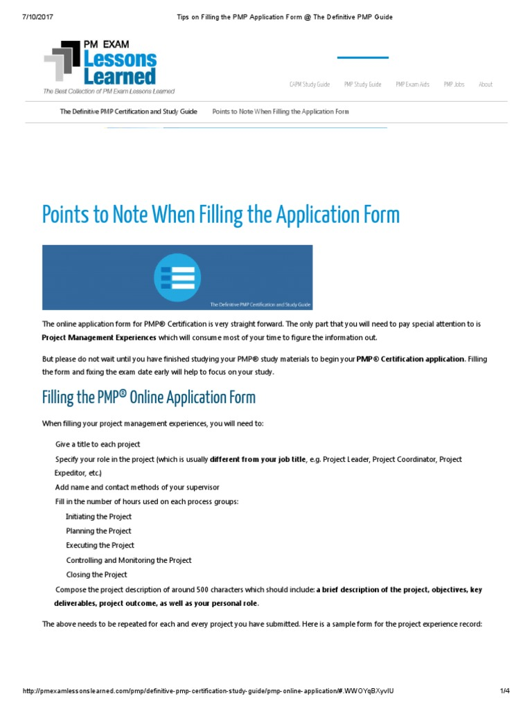 Tips On Filling The Pmp Application Form The Definitive Pmp Guide
