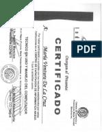 Certificados de Maria Ventura de La Cruz