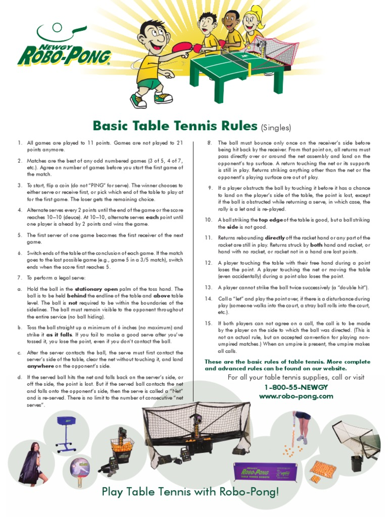 Table Tennis Rules Pdf Table Tennis Gaming
