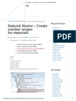 Material Master – Create Number Ranges for Materials