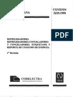 REFRIGERADORES, REF3235-1999 COVENIN RIGERADORES-CONGELADORES Y CONGELEDORES. ETIQUETADO Y REPORTE DE CONSUMO DE EN.pdf