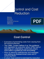 Cost Control and Cost Reduction
