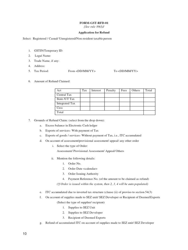Form Gst Rfd11   Invoice   Guarantee