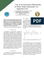 La Utilidad y el Uso de las Ecuaciones Diferenciales Ordinarias de Primer Orden relacionado a la Ingenieria Civil