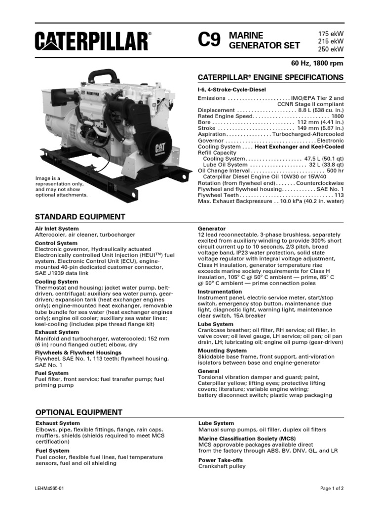 Caterpillar Engine Specifications: Marine Generator Set