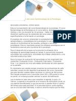 Presentacion Del Curso Epistemologia de La Psicologia