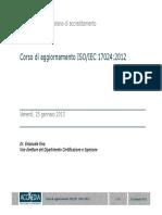 Corso Di Aggiornamento ISO-IEC 17024-2012 - E. Riva