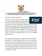 Police Minister Fikile Mbalula or TAMBO Media Briefing Statement