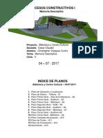 PROCESOS CONSTRUCTIVOS I - Caraturla - Indice de Planos a3
