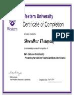 Shreedhar Safe Campus Community Certificate