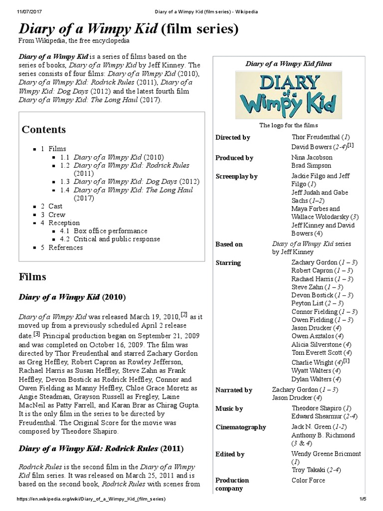 Diary of a Wimpy Kid Film Series Wikipedia – Diary of a Wimpy Kid Worksheets