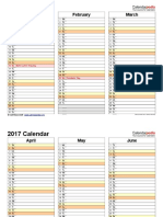 2017 Calendar Landscape 4 Pages