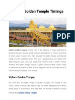 Vellore Golden Temple Timings