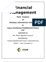 Finance Project of Ratio Analysis of Ranbaxy & Glaxo