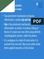 Mechanisms of Plastic Deformation in Metals
