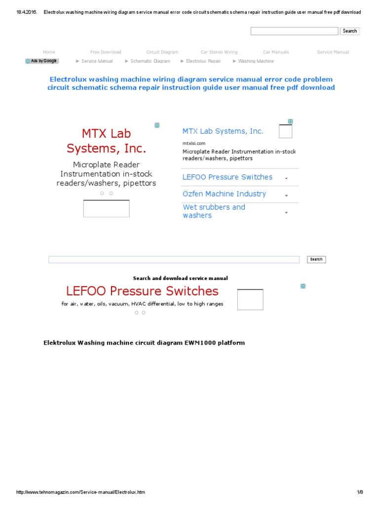 Electrolux Washing Machine Wiring Diagram Service Manual Error Code Circuit Schematic Schema Repair Instruction Guide User Manual Free Pdf Download Pdf Washing Machine Switch