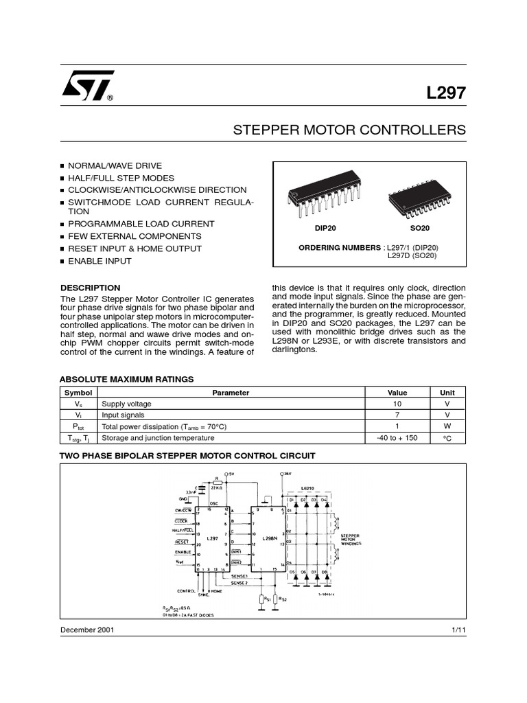Data Sheet L297pdf Electrical Circuits Components Unipolar Stepper Motor Wiring Diagram