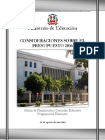 Consideraciones Presupuesto 2016 Ministerio de Educación