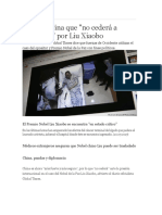 Afirma China Que No Cedera a Presiones de Xiaobo