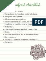 Hennafeest Checklist