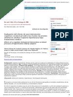 Evaluación Del Efecto de Una Intervención Cognitivo-conductual Sobre Los Niveles de Presión Arterial en Adultos Mayores Hipertensos Bajo Tratamiento Médico