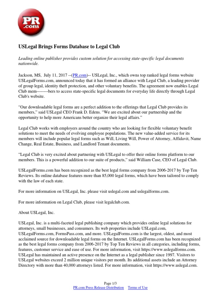 Uslegal Brings Forms Database To Legal Club Press Release Publishing