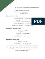 Ecuaciones Para El Cálculo de La Velocidad de Sedimentación