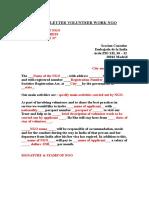 Sample Letter Volunteer Work Ngo