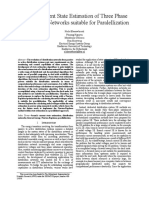 Branch Current State Estimation of Three Phase Distribution Networks Suitable for Paralellization