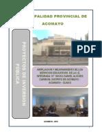 ampliacion y Mejoramiento de Los Servicios Educativos de La i.e. Integrada n 50051