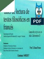Taller Textos Filosóficos en Francés, Lilianaponce