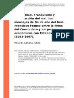 Minardi, Adriana (UBA). (2007). Hispanidad, Franquismo y Construccion Del Mal Los Mensajes de Fin de Ano Del Gral. Francisco Franco Entre (..)