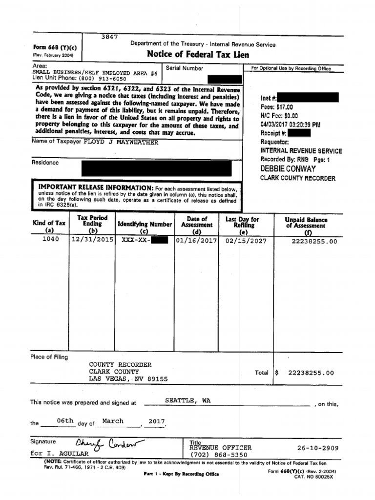 Federal Tax Lien Against Floyd Mayweather Jr For 2015 222m