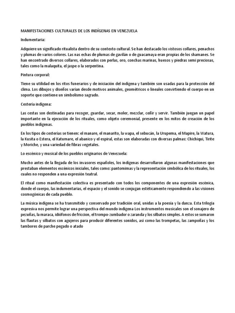 Manifestaciones Culturales De Los Indígenas En Venezuela