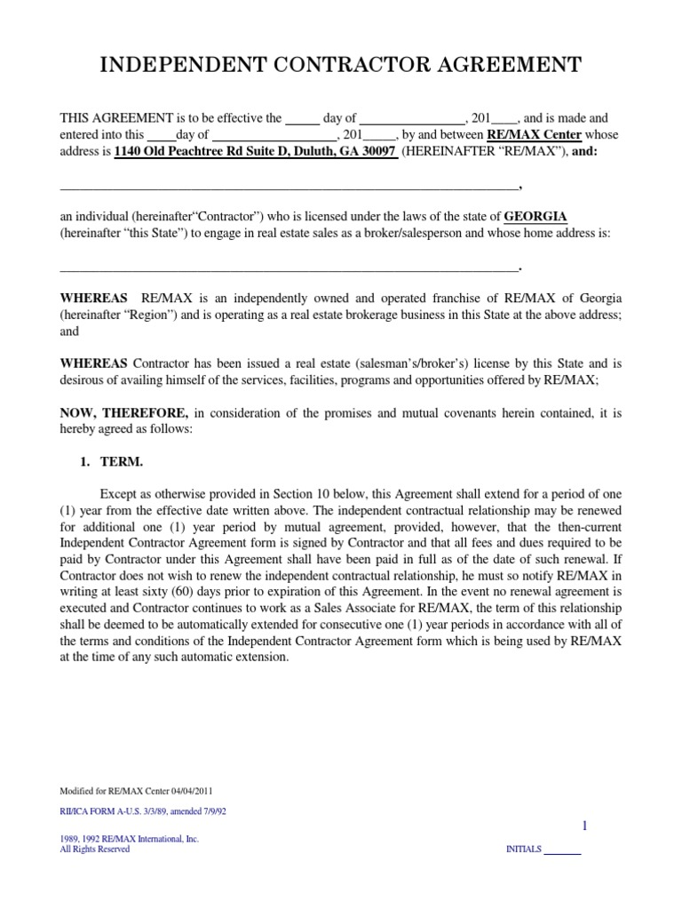 Master Independent Contractor Agreement 2011wga Independent