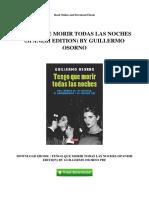 Tengo Que Morir Todas Las Noches Spanish Edition by Guillermo Osorno